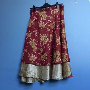 Vintage Floral Nepalese Layered Silk Wrap Skirt